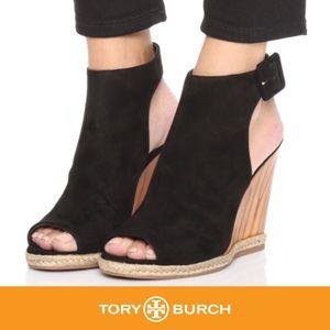 Tory Burch Raya Suede Wedge Sandal, Black. NEW!